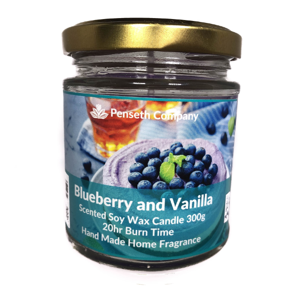 Blueberry Vanilla Scented Candle From The Penseth Company