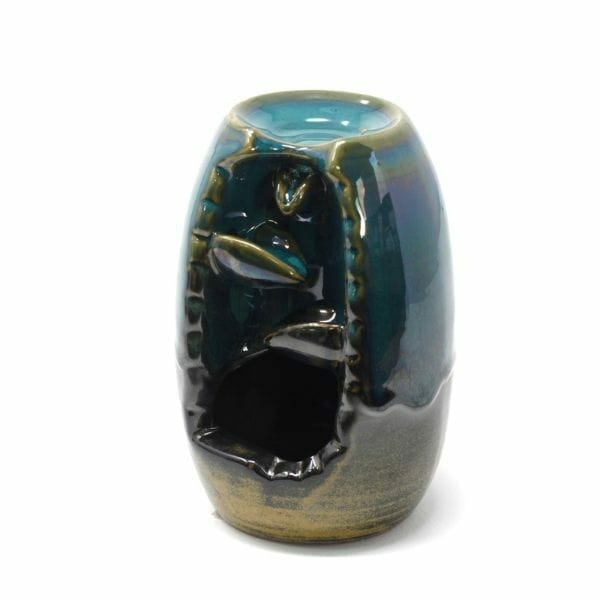small black and teal ceramic back flow incense burner with a vase and waterfall design. 2.jpg